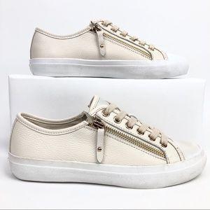 Coach Women's Empire Zipper Cream Leather Sneaker